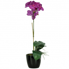 Black Ceramic Pot with a Single Purple Artificial Orchid