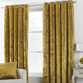 Riva Paoletti Verona Ochre Velvet 66x54 Curtains