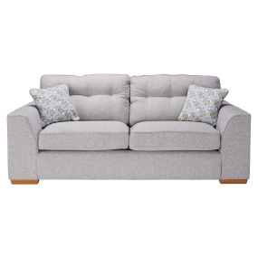 Clarendon Grey Fabric 3 Seater Sofa With Scatter Cushions - Front | Housing Units