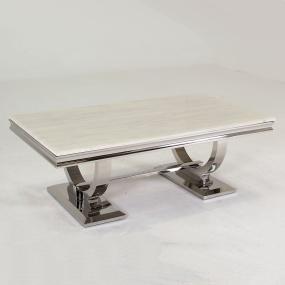 Renata Rectangular Marble and Chrome Coffee Table