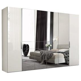 Torino White High Gloss 6 Door 226cm Wardrobe
