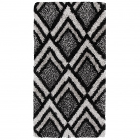 Velvet Bijoux Black & Grey 80cm x 150cm Rug