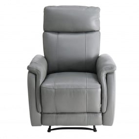Riveto Grey Leather Recliner Armchair - Front | Housing Units