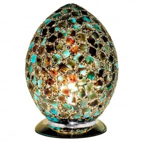 Dark Green Medium Egg Mosaic Table Lamp
