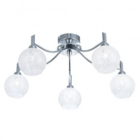 Chrysalis Chrome 5 Light Semi Flush Ceiling Light