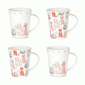 Rose Blush Set of 4 Cat Mugs