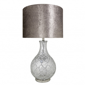 Mercury Silver Table Lamp and Taupe Shade