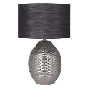 Alex Chrome Ceramic Table Lamp and Grey Shade
