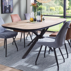 Sonata Oval 210cm Oak Veneer Dining Table - In Roomset