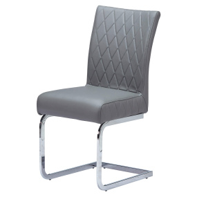 Carlo Dark Grey Faux Leather Dining Chair with Chrome Legs - Angled | Housing Units
