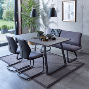 Cosmo 160cm Extending Dining Table, 2 Chairs & Bench