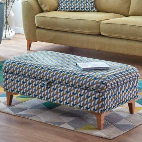 Weston Lime & Teal Tetri Pattern Fabric Legged Storage Ottoman - Lifestyle | Housing Units