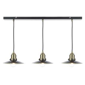 Hannover Antique Brass & Black 3 Light Bar Pendant Light