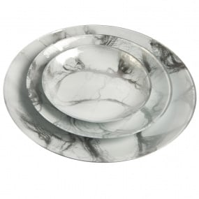 White Marbled Glass 21cm Plate