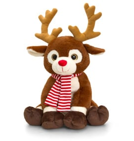 Large Plush Reindeer with Candy Striped Scarf