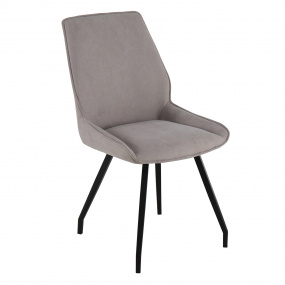 Sonata Light Grey Fabric Dining Chair - Angled