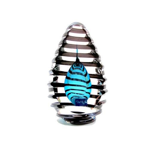 Svaja Helix Teal Glass Sculpture