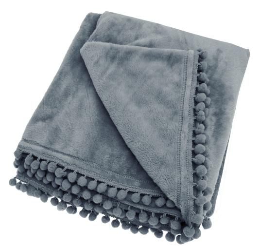 Walton & Co Cashmere Charcoal Fleece Throw