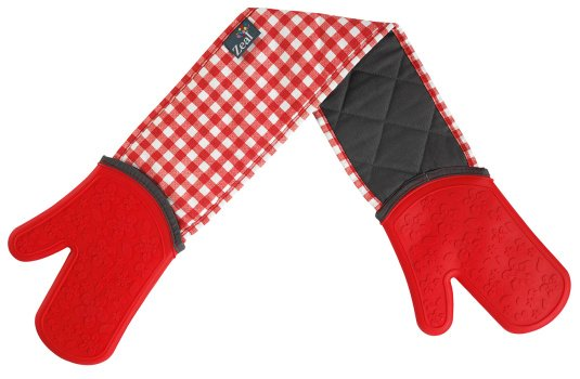 Zeal Gingham Double Oven Gloves in Red